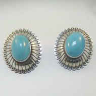 Sterling Silver Q.T. Turquoise Oval Earrings