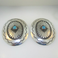 Sterling Silver Large Turquoise Oval Southwest Design Earrings