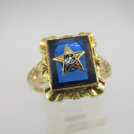10k Yellow Gold Blue Stone Easter Star Ring Size 7