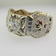 10k and 14k  Yellow and White Gold Approx .35ct Diamond Fraternal Ring Size 9 3/4