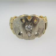 14k Yellow Gold Approx .15ct Round Brilliant Cut Diamond Masonic Ring Size 11 3/4