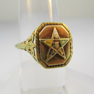 14k Yellow Gold Eastern Star Ring Size 5 1/4