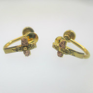10k Black Hills Gold Cross and Gold Filled Screw Back Earrings
