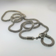 Unmarked Unisex Stainless Steel Round Woven Mesh Links Chain Necklace