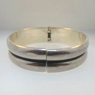 Sterling Silver Vintage Wide Band Cuff Bracelet Hinged Mexico