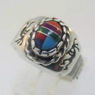 Sterling Silver Kokopelli Shube Mosaic Ring Size 7.5