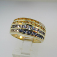 14k Yellow Gold Yellow and Blue Sapphire Ring Size 8