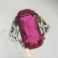 Sterling Silver Vintage Filigree Pink Stone Ring Size 7