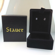 Sterling Silver Tanzanite Light Purple Stone Stud Earrings by Stauer in Box