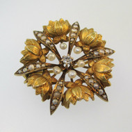 10k Yellow Gold Victorian Seed Pearl and Diamond Flower Blossom Pin Brooch