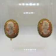 Vintage 12K Yellow Gold Filled Petite Shell Cameo Screwback Earrings
