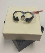 Attractive Hematite Metal Hands Scarf Slide W/ Clear Stone Accent & Tags