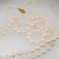"""14k Yellow Gold Fresh Water Double Strand Pearl Necklace 16"""""""