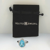 Holsted Jewelers Silver Tone Teardrop Created Blue Topaz December Birthstone CZ Accents Ring Sz 7 in Pouch