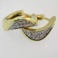 14k Yellow Gold Diamond Huggie Hoop Earring