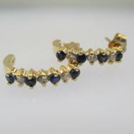 14k Yellow Gold Sapphire and Diamond Hoop Stud Earrings