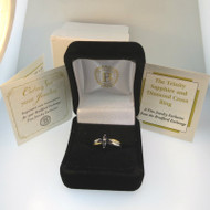 The Bradford Exchange Sterling Silver 24K Gold Plate Trinity Sapphire and Diamond Cross Ring Sz 6.5 Engraved
