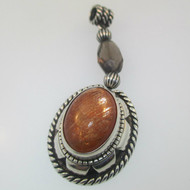 Sterling Silver Carolyn Pollack Orange Stone Southwest Style Pendant