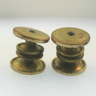 Vintage Gold Filled Unsigned Mens Ladies Round Snap Cufflinks Etched Clear Stone
