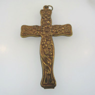 Vintage Gold Tone Raised Floral Detail Cross Ornament or Large Pendant Unsigned