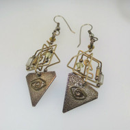 Vintage Gold Filled Wire Beads Eye Modern Egyptian Look Dangle Earrings Unsigned