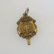 Vintage Gold Tone Jostens Service Scroll Shield NHS Logo Academic Award Charm