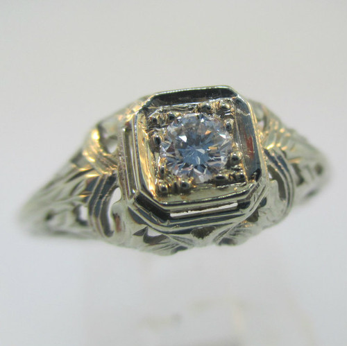 Vintage Art Nouveau 18k White Gold Approx .15ct Round Brilliant Diamond Ring Size 4