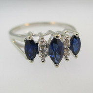 10k White Gold Created Blue Sapphire and Diamond Ring Size 7