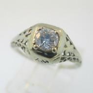 Vintage Art Nouveau 18k White Gold Approx .25ct European Cut Filigree Diamond Ring Size 4