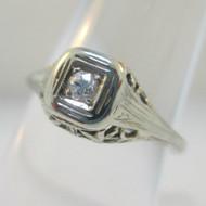 Vintage Art Nouveau 18k White Gold Approx .05ct Round Cut Filigree Diamond Ring Size 5.5