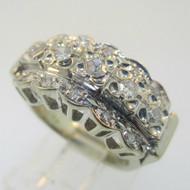 Vintage Art Nouveau 18k White Gold Approx .75ct Filigree Diamond Cluster Ring Size 4.25