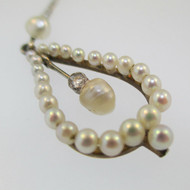 Victorian 14k White Gold Seed Pearl Cluster Lavaliere with Fresh Water Pearls Dangle Necklace