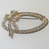 Antique Art Nouveau Estate 14k White Gold Approx 1.50ct TW Diamond Ribbon Oval Bow Brooch Pin