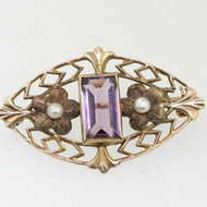 10k Yellow Gold Victorian Brooch Seed Pearls with Purple Amethyst Stone Fleur De Lis Accents