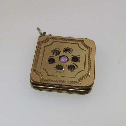 Vtg Gold Tone Flower Design Multicolored Stones Watch Fob Locket Empty Unsigned