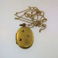Vtg Gold Tone Unsigned Oval Locket with Photo on 12k Gold Filled Chain Necklace