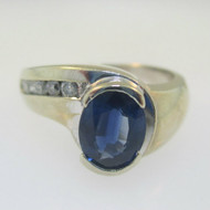 14k White Gold Oval Cut Blue Sapphire Diamond Accent Ring Size 6.5