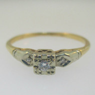 Vintage 14k Yellow Gold Two Tone Diamond Approx .10ct/TW Promise Ring Size 7.25