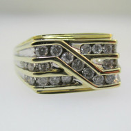 10k Yellow Gold Approx .50ct TW Round Brilliant Cut Diamond Men's Band Ring Size 11