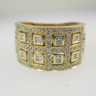 14k Yellow Gold Approx .75ct TW Princess and Round Brilliant Cut Diamond Art Deco Style Ring Size 7 3/4