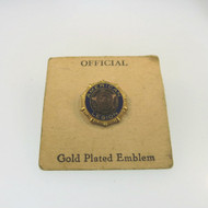 Vtg Official Amer Legion Gold Tone Plated Blue Frame Screw Pin Tie Tack on Card