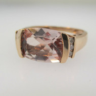 10k Rose Gold Ring Pink Quartz Ring with Diamond Accents Size 6
