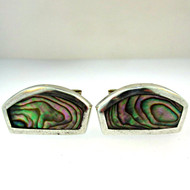 Vintage Sterling Silver and Abalone Cufflinks (300.1770D CB)