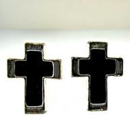 Vintage Silver Tone with Black Enamel Cross Cufflinks (300.1770E CB)