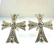 Vintage Silver Tone with Cubic Zirconias Cross Cufflinks (300.1770G CB)