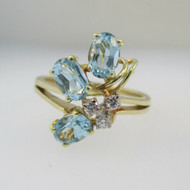 14k Yellow Gold Blue Topaz Ring with Diamond Accents Size 8 1/4