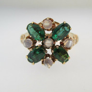 10k Rose Gold Tourmaline and Moonstone Ring Size 4 1/2