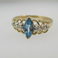 14k Yellow Gold Marquise Cut Blue Topaz Ring with Diamond Accents Size 7 1/2