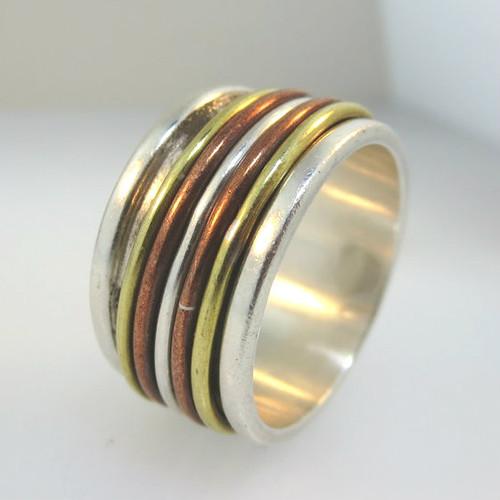 Vtg Sterling Silver 3 Tone Mens Wide Spinner Band Ring