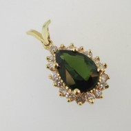 14k Yellow Gold Pear Shaped Green Tourmaline Pendant with Diamond Halo Accents